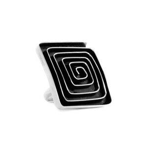 Ring Silber Labyrinth Spirale quadratisch fein handmade Fair-Trade - pakilia