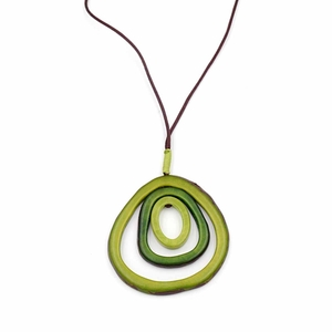 "Tagua Kette ""Saturn"", Länge verstellbar bis ca. 80 cm, Textilband, Steinnuß (Naturprodukt), Fairtrade - Mekhada"