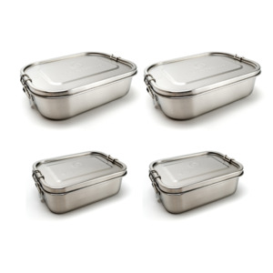 Familienpaket: Edelstahl Lunchboxen | 2x groß und 2x klein - samebutgreen