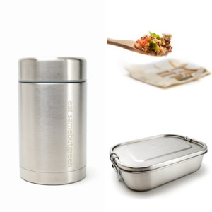 To-go Set: Thermobehälter | Große Lunchbox | Bambus Besteck-Set - samebutgreen