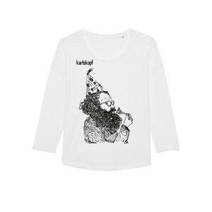KAFFEEKLATSCH Bedrucktes Damen T-Shirt -langarm- aus Bio-Baumwolle - karlskopf