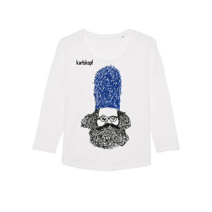 BEWACHER Bedrucktes Damen T-Shirt -langarm- aus Bio-Baumwolle - karlskopf