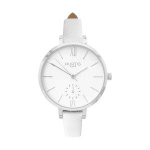 Amalfi Petite Veganes Leder Uhr Silber/Weiß - Hurtig Lane