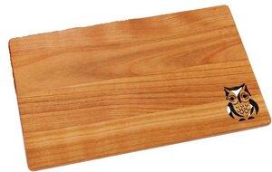 Eule Brettchen aus Kirschholz - Größe: 26x15x1 cm - ReineNatur
