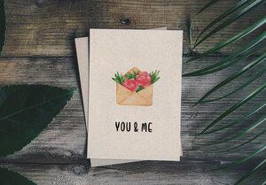 """Grußkarte Graspapier - """"You & Me"""" - Matabooks"""