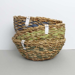 Natürlicher Korb aus Sari und Seegras (handgerfertigt, Unikat) - reSpiin