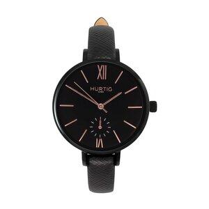 Amalfi Petite Veganes Leder Uhr Schwarz/Schwarz - Hurtig Lane