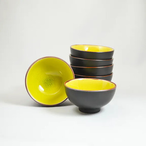 Teeschale Cha Wan aus Porzellan 6 Stück innen veschiendene Farben - ja-unendlich