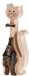 Katze mit Rinde aus Erlenholz 15x3 cm & 21x4 cm - ReineNatur