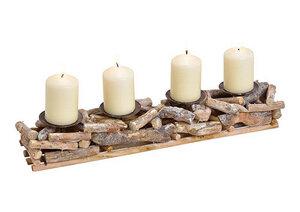 Gesteck aus Treibholz mit 4 Kerzenhaltern - ReineNatur