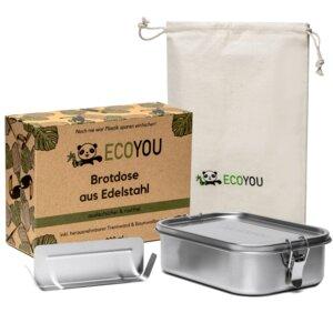 Lunchbox EcoYou - auslaufsichere Brotdose aus Edelstahl 800 oder 1200 ml - EcoYou