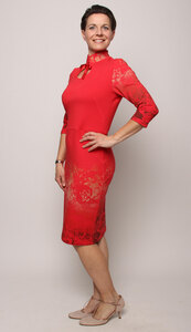 Kunstdruck-Kleid Rosenträume - Peaces.bio - handbedruckte Biomode