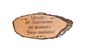 Rindenscheibe mit Spruch - Größe: ca. 32 cm - ReineNatur