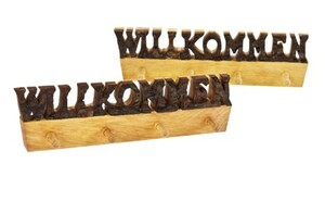 """Schlüsselbrett """"Willkommen"""" - Erle mit Rinde - 4 Haken - Größe: 27 x 7,5 x 2 cm - ReineNatur"""