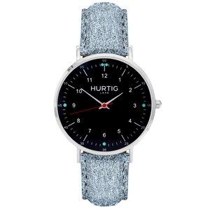 Moderna Veganes Wildleder Uhr Silber/Schwarz - Hurtig Lane