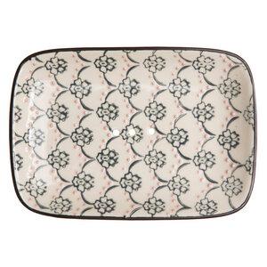 Seifenschale aus Steinzeug mit floralen Mustern und Ornamenten 13,5 cm - TRANQUILLO