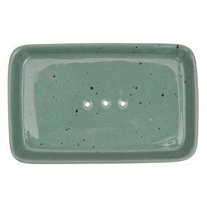 Seifenschale Rustic aus Steinzeug in Weiß und Grün 14 cm - TRANQUILLO