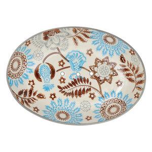 Ovale Seifenschale aus Steinzeug mit bunten Mustern 14 cm - TRANQUILLO