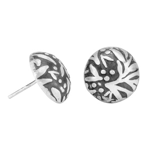 Ohrringe Silber florales Blattmuster Herbst handmade modern Fair-Trade - pakilia