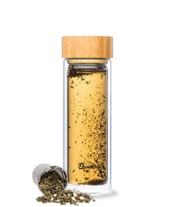 Isolierte Glas Teekanne - Thermoskanne mit 2 Teefiltern und Bambusdeckel - 430ml - Qwetch