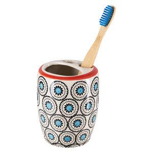 Zahnbürstenhalter aus Steinzeug mit verschiedenen Mustern 8 x 11 cm - TRANQUILLO