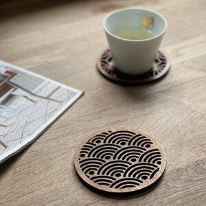 Japanese Pattern Upcycled Untersetzer aus recyceltem Teakholz - Paguro Upcycle