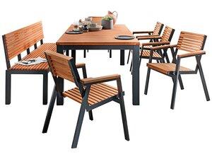 Gartenmöbel-Set 'Berrissimo', 7-teilig, 5 Sessel, 1 Tisch, 1 Bank 180 cm - memo