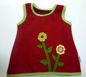 Trägerkleid mit Blumenapplikation aus roter Wollwalk/Kochwolle - Omilich