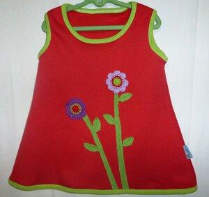 Trägerkleid mit Blumenapplikation aus rotem Sweat - Omilich
