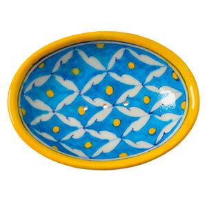 Blue Pottery Seifenschale von Hand geformt und bemalt - TRANQUILLO