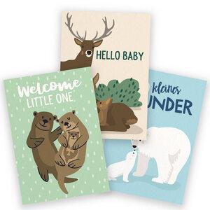 3er-Set Postkarten zur Geburt - käselotti