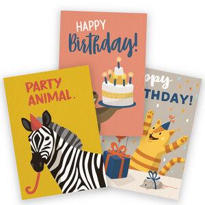 3er-Set Postkarten zum Geburtstag - käselotti