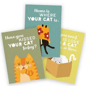 3er-Set Postkarten für Katzenfans - käselotti