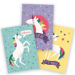 3er-Set Postkarten für Einhornfans - käselotti