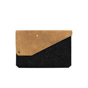 11' MacBook Sleeve aus Leder & Filz anthrazit - Alexej Nagel