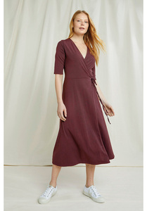 Mishka Wrap Dress in black + rost - People Tree