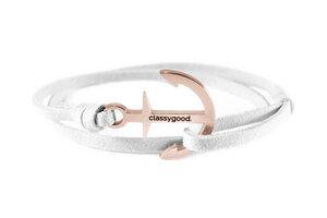 Anker Armband Edelstahl - Rosègold - Alcantara-Leder Band - Classygood.