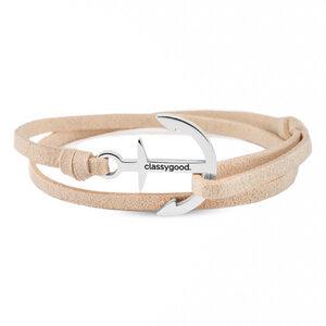 Anker Armband Edelstahl - Silber - Alcantara-Leder Band - Classygood.
