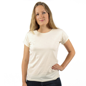 Frauen T-Shirt BASIC aus Bio-Baumwolle mit Roll-Sleeves. Made in Tanzania - Kipepeo-Clothing