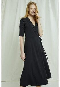 Mishka Wrap Dress in black + rost - People Tree