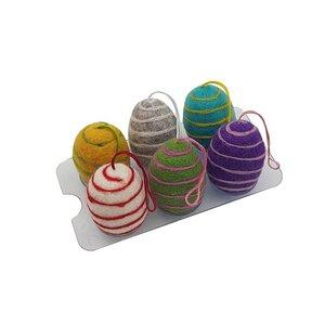 """Filz-Eier """"Spirale"""", 6er Set (verschiedene Farben), Ø ca 4,5 cm - Frida Feeling"""