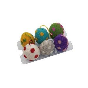 """Filz-Eier """"Spotty"""", 6er Set (verschiedene Farben), Ø ca 4,5 cm - Frida Feeling"""