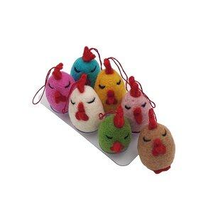 Filz Deko: Anhänger Huhn bunt, 7er Set (verschiedene Farben), Ø ca 4,5 cm - Frida Feeling