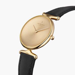 Armbanduhr Unika Gold   Mattes Edelstahl Ziffernblatt - Veganes Lederarmband - Nordgreen Copenhagen