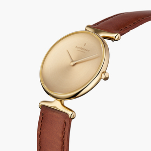 Armbanduhr Unika Gold | Mattes Edelstahl Ziffernblatt - Veganes Lederarmband - Nordgreen Copenhagen