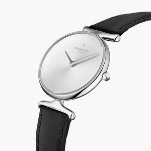 Armbanduhr Unika Silber | Mattes Edelstahl Ziffernblatt - Veganes Lederarmband - Nordgreen Copenhagen