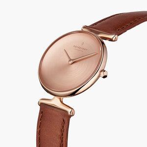 Armbanduhr Unika Roségold| Mattes Edelstahl Ziffernblatt - Veganes Lederarmband - Nordgreen Copenhagen
