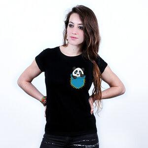 Pocket Panda - Printshirt Frauen Bio & Fair - Coromandel