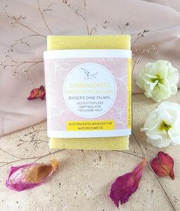 Sonnenschatz Bio-Pflanzenöl Seife Sanddorn & Lavendel für trockene Haut - Küstenseifen Manufaktur