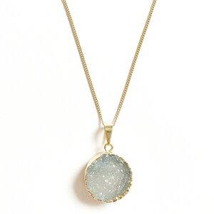 Achat Halskette mit vergoldetem Kreis - Crystal and Sage